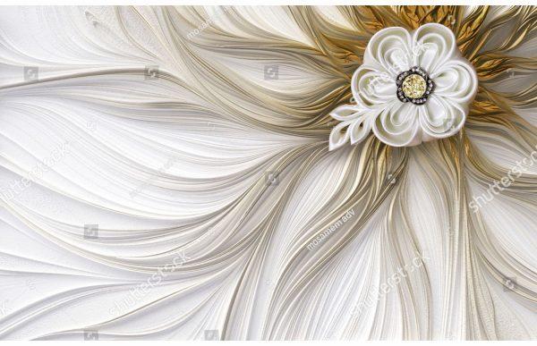 Фотообои Бежевый цветок и линии