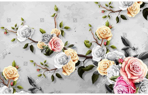 Фотообои Ветвь с разноцветными розами