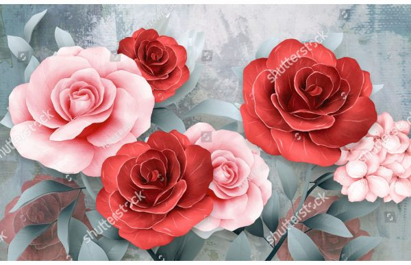 Фотообои Розовые и алые розы