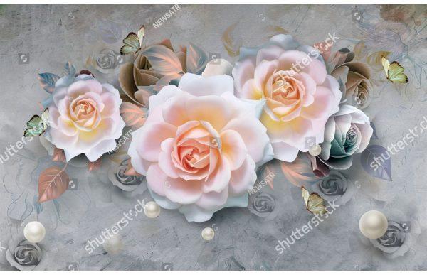 Фотообои Крупные белые розы