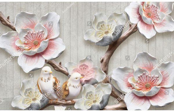 Фотообои Цветы и голуби