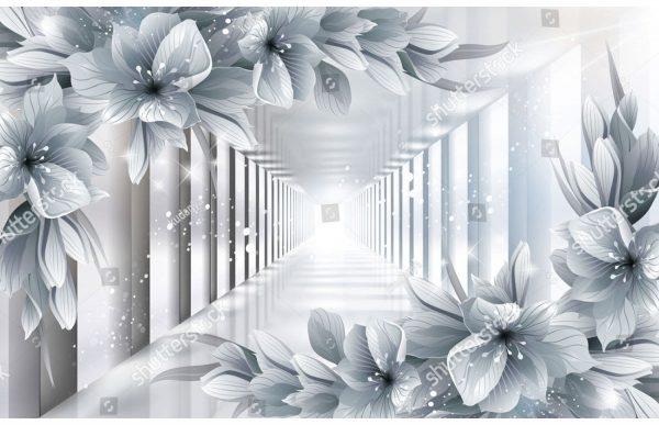 Фотообои Серебряные цветы и тоннель