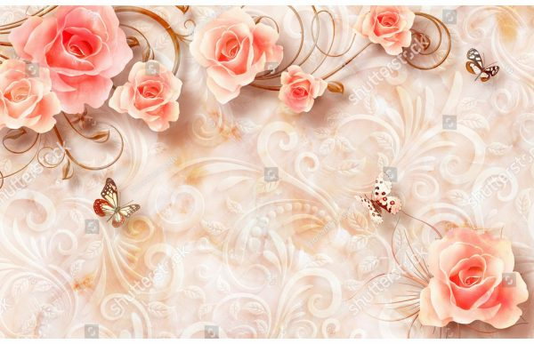 Фотообои Розовые розы и бабочки