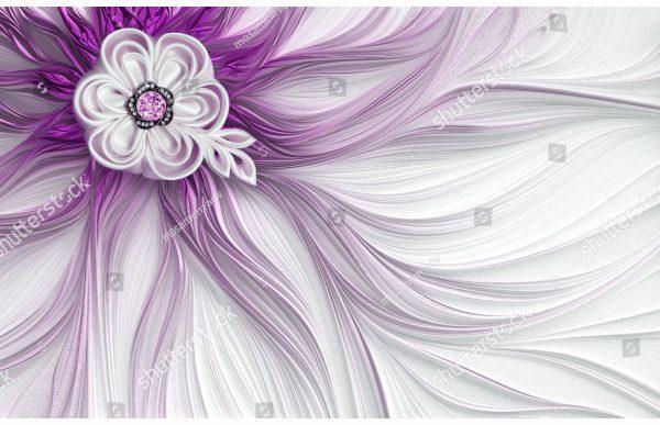 Фотообои Сиреневый цветок и линии