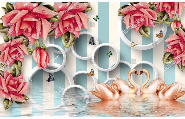 Фотообои Яркие розы и лебеди