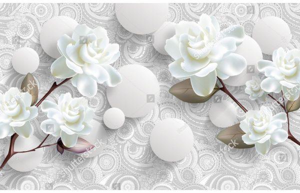Фотообои Белые розы и орнамент