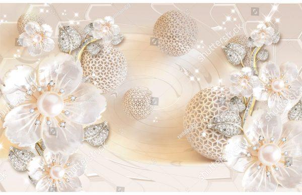 Фотообои Цветы бриллианты и шары
