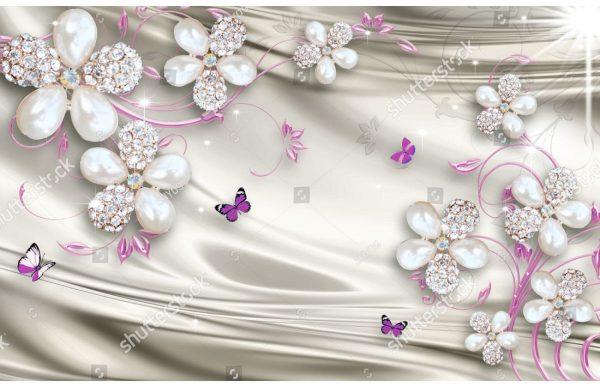 Фотообои Сиреневые бабочки и бриллианты