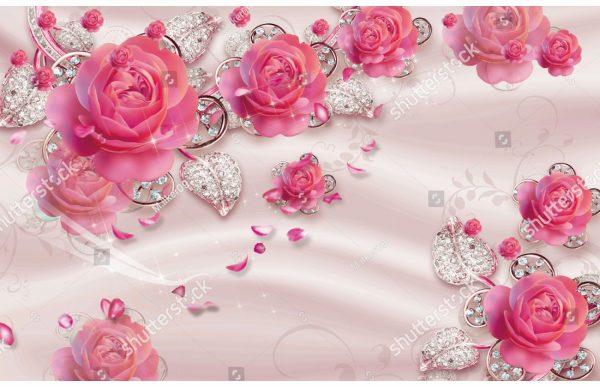 Фотообои Розовые розы и бриллианты