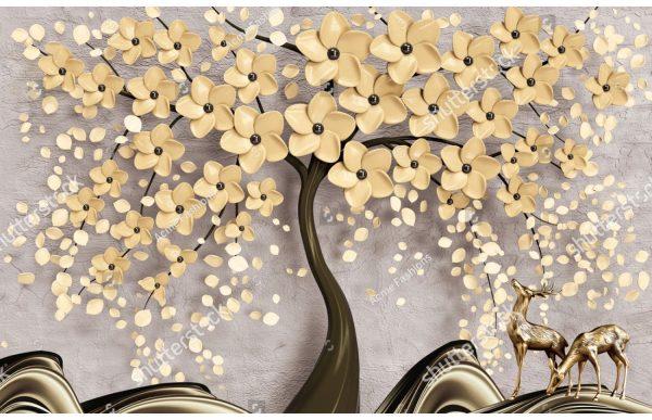 Фотообои Золотое цветочное дерево