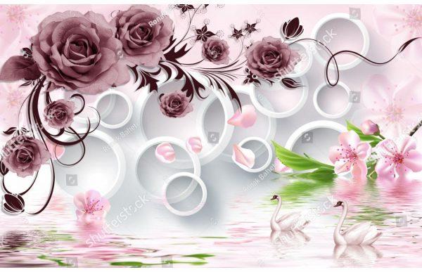 Фотообои Бордовые розы и лебеди