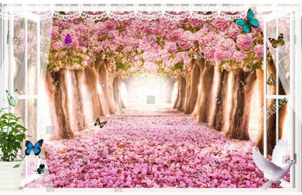 Фотообои Окно в розовый лес