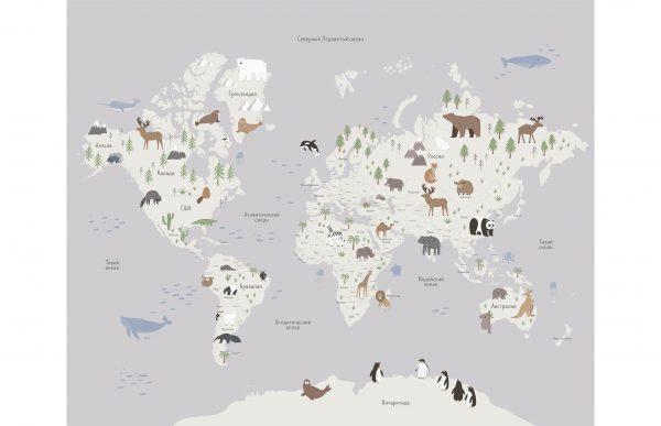Фотообои Карта мира с животными
