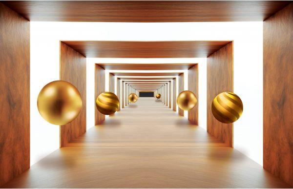 Фотообои Деревянный тоннель с шарами