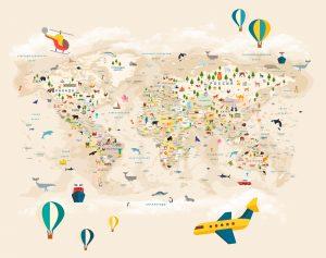 Фотообои Карта мира на русском бежевая