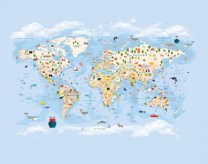 Фотообои Карта мира синяя без шаров